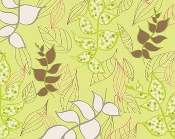 1/2 yd Naturella Light Organic Leaves by Art Gallery Fabrics NA 5803 Glow