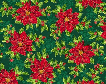 1/2 yd Pretty Poinsettias Large Floral Fabric by Quilting Treasures Fabrics 27232 F