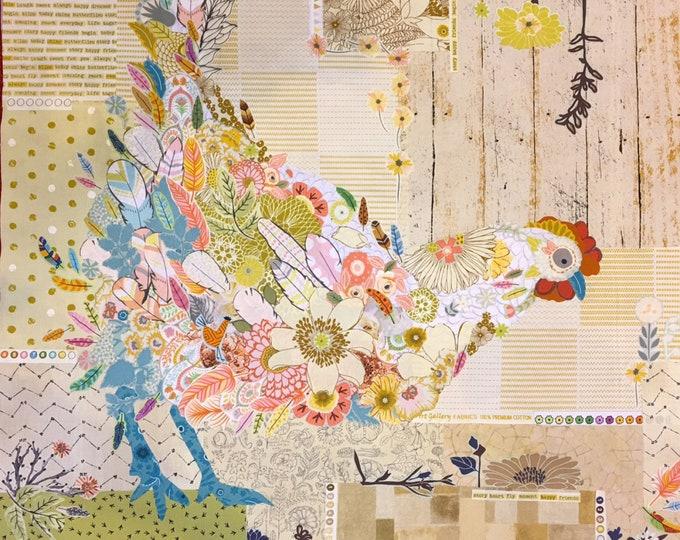 Featured listing image: ORIGINAL Laura Heine Hen Rietta Collage Fabric Kit FWLHHEN