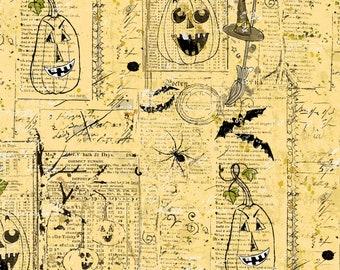 Something Wicked Jack O Lanterns Fabric // Clothworks Y2428-67 by the Half Yard