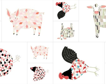 Farm Fresh Farm Animals PANEL by Gingiber for Moda Fabrics 48260 11