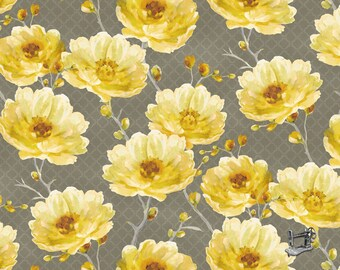 1/2 yd Sunshine Medium Grey Floral by Lisa Audit for Wilmington Prints Fabric 86378-905