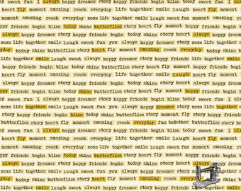 1/2 yd Vintage Daydream Words by Design By Dani for Riley Blake C5562-GOLD