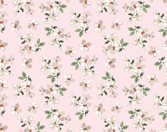 1/2 yd FARMHOUSE Floral Toss Fabric by Nancy Zieman for Penny Rose & Riley Blake Designs C6884-PINK