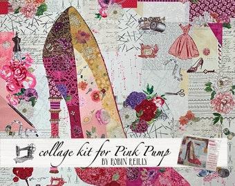 Collage Quilt Kit Pink Pump for Laura Heine's Collage Pattern FBWPINKPUMP // Certified Laura Heine Instructor