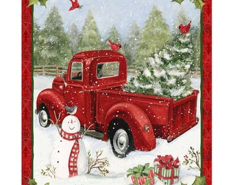 "Red Truck Christmas Fun 36"" Christmas Panel by Susan Winget for Springs Creative Fabrics SPR69167-D650715"