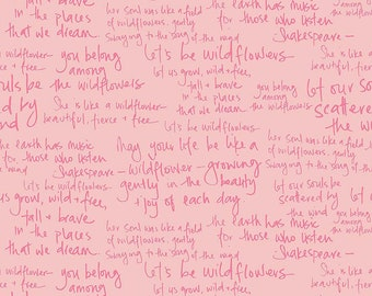 1/2 yd In the Meadow Text // Word // Sayings Fabric by Keera Job for Riley Blake Designs C7995 PINK