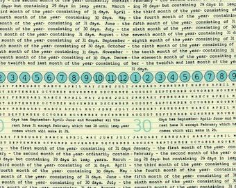 1/2 yd SALE Elementary Newsprint Calendar by Sweetwater for Moda Fabrics 5560 14 Splash OOP