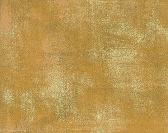 Grunge Harvest Gold Metallic Fabric by BasicGrey for Moda 30150 522M by the Half Yard