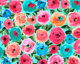 1/2 yd Sweet Caroline Main Floral Fabric by Caroline Critchfield for Quilting Treasures 26987 -Q  TURQUOISE