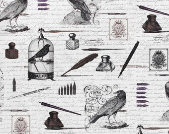 Nevermore Edgar Collage Fabric // Michael Miller DC5525-WHT by the HALF YARD