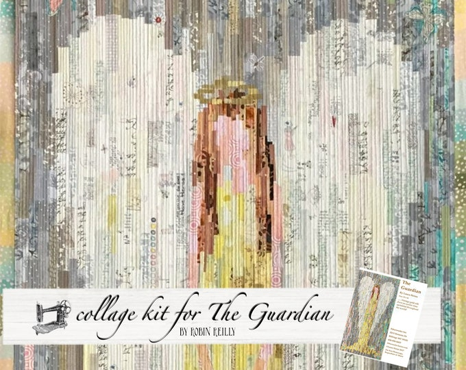 Featured listing image: The Guardian Angel Fabric Collage Quilt Kit for Laura Heine's Collage Pattern LHFWGUARD