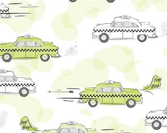 1/2 yd City Life TAXI CABS by Ink & Arrow Fabric 24301 -H