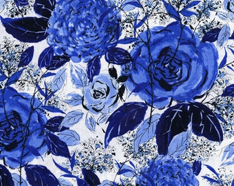 Rose Hutch Favorite Floral Delft Fabric by RJR Studios 3275-002 by the Half Yard