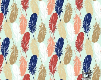1/2 yd Pachua Feathers by 3 Wishes Fabric 12942 MINT
