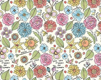 """REMNANT 22"""" Potpourri Smell the Flowers Fabric // Laura Heine // Windham 51656-9"""
