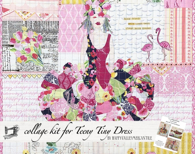 Featured listing image: Teeny Tiny Dress #1 Fabric Collage Quilt Kit for Laura Heine's Collage Pattern FBWTT1
