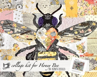 Collage Quilt Kit Honey Bee for Laura Heine's Collage Pattern FBWHBEE // Certified Laura Heine Instructor