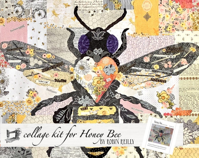 Featured listing image: Collage Quilt Kit Honey Bee for Laura Heine's Collage Pattern FBWHBEE // Certified Laura Heine Instructor