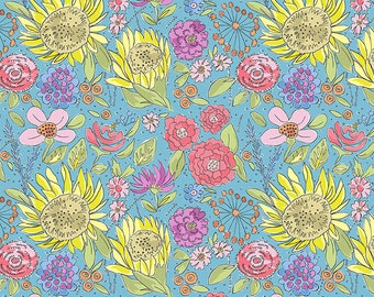 1/2 yd Color Fusion Sunflower by Laura Heine for FreeSpirit Fabrics PWLH017.BLUE