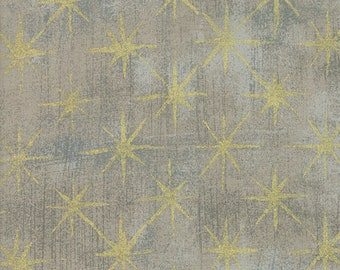 1/2 yd Grunge Seeing Stars Gray Coutur Fabric by BasicGrey for Moda 30148 47M Moda Metallic