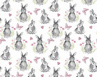 1/2 yd Pretty Bunnies Novelty Fabric by Riley Blake C9005 White