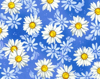 Daisy Blue Daisy Dance Blue Sky Fabric by Flaurie & Finch for RJR by the Half Yard
