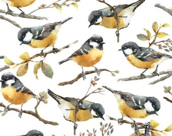1/2 yd Songbird Collection Fabric by 3 Wishes 12231-WHITE