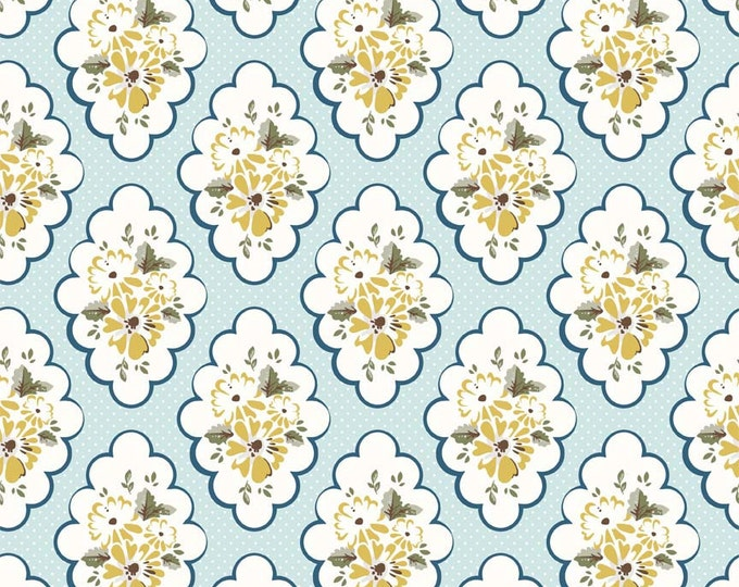 """END OF BOLT 18"""" Wiltshire Daisy Blue Floral by Carina Gardner for Riley Blake"""