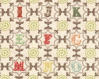 SALE Odds & Ends Alphabet Fabric by Julie Comstock Cosmo Cricket for Moda Fabrics 37045 11 PER yard
