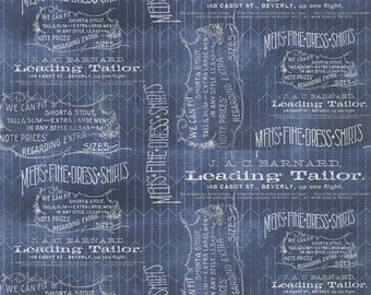 Tim Holtz Eclectic Elements Dapper Tailored Blue Fabric // FreeSpirit PWTH066.8BLUE by the Half Yard
