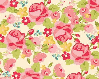 1/2 yd Hello Gorgeous Main Floral by My Mind's Eye for Riley Blake C5690-CREAM