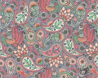 1/2 yd Delphine Paisley by Andie Hanna for Robert Kaufman AHE-17635-96 BLUSH