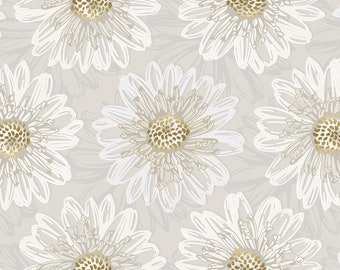 1/2 yd Shiny Objects Good as Gold Embossed Blooms Pearl Metallic Fabric by Flaurie & Finch for RJR Studios FF500-PE6M