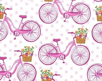 SALE Farmer's Market Pink Bicycles Fabric by Michael Miller Fabrics CX7313-PINK-D PER yard