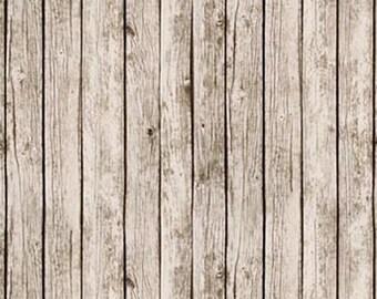 1/2 Yard Landscape Medley Wood Fence by Elizabeths Studio 357-ANTIQUE-WHITE