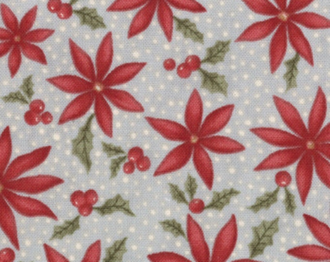 1/2 yd Sentiments Frost Snowy Poinsettias Aqua by 3 Sisters for Moda Fabrics 4085 15