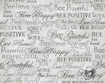1/2 yd Bee Kind Happy Words Fabric by Paintbrush Studio 120-99253