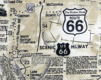 Route 66 Map Fabric // Timeless Treasures C7529-NAT by the HALF YARD