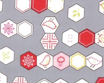 SALE Sew Stitchy Grey Hexagon by Aneela Hoey for Moda Fabrics 5481 22 PER YARD