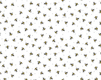 1/2 yd All The Buzz Bees Fabric by Ink & Arrow for Quilting Treasures 27611-Z