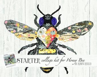 Fabric Starter Collage Quilt Kit for Laura Heine's Collage Pattern Honey Bee FBWHONEYBEE
