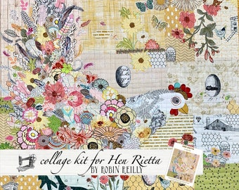 Collage Quilt Kit Hen Rietta for Laura Heine of Fiberworks Pattern FWLHHEN // Certified Laura Heine Instructor