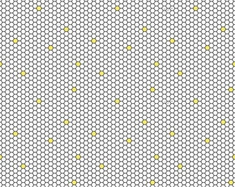 1/2 yd All The Buzz Geo // Honeycomb Fabric by Ink & Arrow for Quilting Treasures 27612-Z