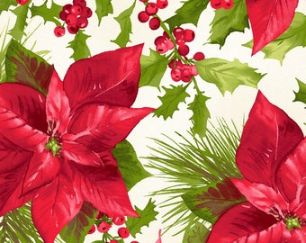 1/2 yd Poinsettia & Pine Mixed Floral Christmas Fabric by Maywood Studios MAS9120-E