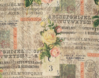 1/2 yd Foundations // Eclectic Elements Rose Parcel by Tim Holtz for FreeSpirit Fabrics PWTH035.8MULT