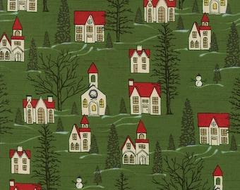 1/2 yd Winter Village Houses by BasicGrey for Moda Fabrics 30551 15 Spruce