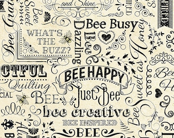 1/2 yd BEE Hive Rules Bee Words by Timeless Treasures Fabric C7172-Natural