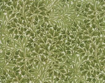 1/2 yd Morris Holiday V & A Museum Reproduction 1899 Foliage by Moda Fabric 7317 12M Metallic Pine