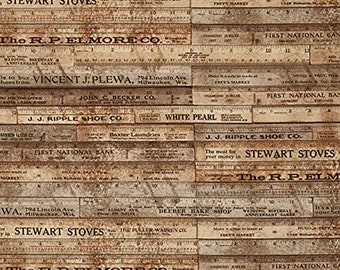 1/2 yd Tim Holtz Eclectic Elements Foundations Rulers for FreeSpirit / Coats & Clark PWTH017 Brown